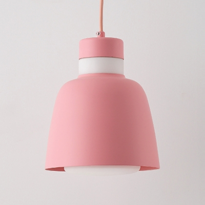 Nordic Dome Shade Mini Pendant Lamp for Restaurant Metal 1 Head Hanging Light in Gray/Green/Pink/Yellow