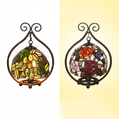 Stained Glass Grape/Rose Table Light Child Bedroom Single Bulb Rustic Tiffany Night Light, HL538813