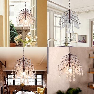 Twig Dining Room Pendant Light Metal 1 Bulb Country Style Rust Chandelier with Clear Crystal