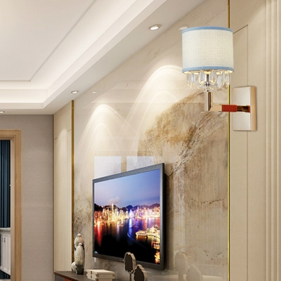 White Drum Shade Wall Light with Crystal 1 Light Modern Style Fabric Sconce Light for Bedroom Corridor