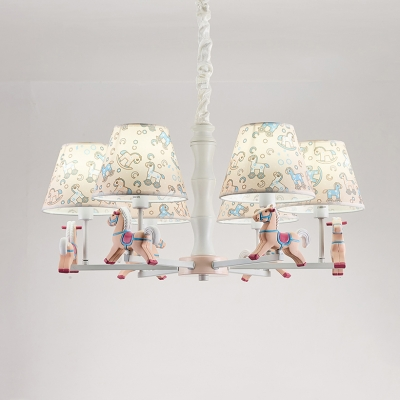 5/6 Lights Horse Chandelier Lovely Metal Hanging Lamp with Fabric Shade in Blue/Pink for Baby Bedroom