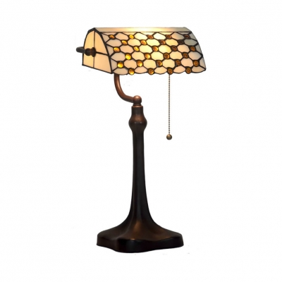 Art Glass Banker Design Table Light One Light Simple Style Table Lamp with Bead for Study Room