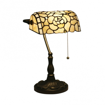 Beige Blossom Table Light 1 Head Tiffany Vintage Art Glass Banker Lamp for Bedroom Office