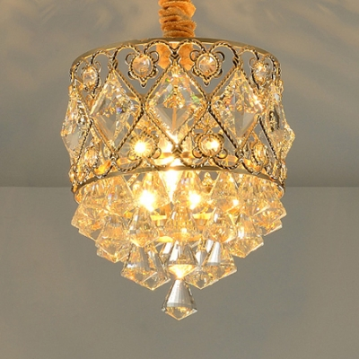 Clear Crystal Ball Mini Chandelier Kitchen Single Light Luxurious Pendant Light in Gold