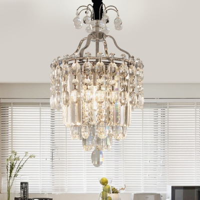 Restaurant Hotel Cone Pendant Lamp Clear Crystal Traditional Chandelier in Chrome Finish