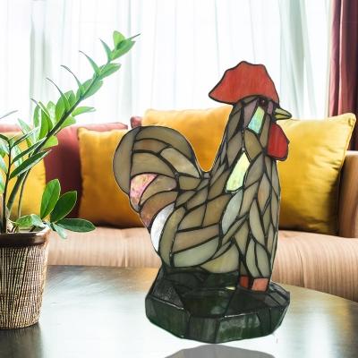 1 Light Cock Table Light Vivid Animal Art Glass Night Light in Beige for Child Bedroom