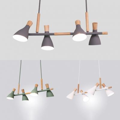 Aluminum Bottle Island Lamp Office Kitchen 4 Heads Macaron Style Island Chandelier in Gray/Green/White