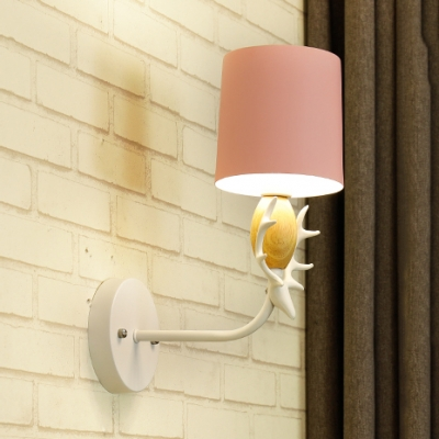Nordic Style Macaron Colored Wall Sconce Antlers 1 Bulb Metal Sconce Light for Kid Bedroom
