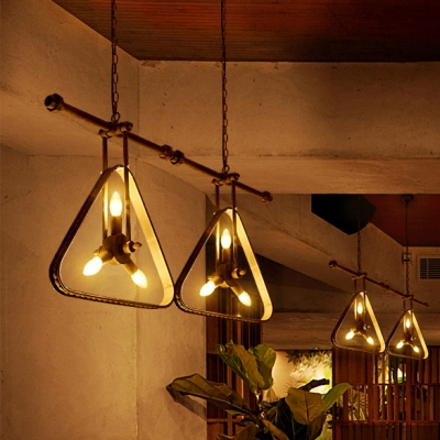 Antique Stylish Pendant Light Triangle Shade 3 Lights Metal Chandelier in Blue/Green/Red/Rust for Restaurant