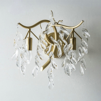 Bedroom Hotel Candle Wall Light Metal 2 Lights Gold Wall Light with Leaf Decoration