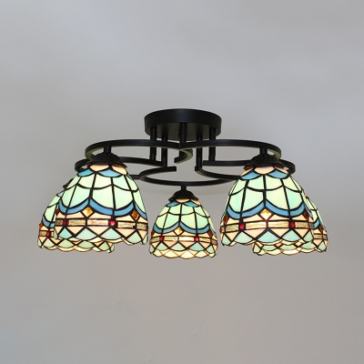 Child Bedroom Domed Semi Flushmount Light Stained Glass 3/5/7 Lights Nautical Blue Ceiling Lamp