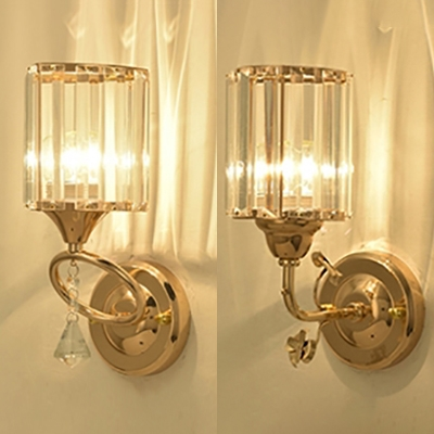 Clear Crystal Cylinder Wall Light 1 Head Traditional Style Sconce Light in Gold for Corridor