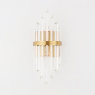 Clear Crystal Diamond Wall Light Living Room Foyer Luxurious Style Two LED Wall Lamp in Gold