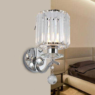 Crystal Drum Wall Light with Ball Decoration Bedroom Modern Simple LED Wall Lamp in Chrome