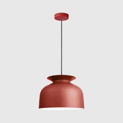 Dining Table Bowl Pendant Light Aluminum 1 Light Nordic Style Hanging Lamp in Dark Gray/Light Gray/Red