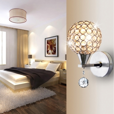 Foyer Bedroom Globe Wall Light Metal 1 Head Modern Stylish Chrome Sconce Light with Crystal