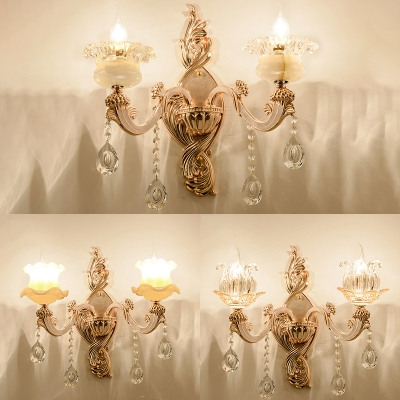 Glittering Crystal Blossom Wall Light Dining Room Two Heads Luxurious Sconce Light in Gold HL540527 фото