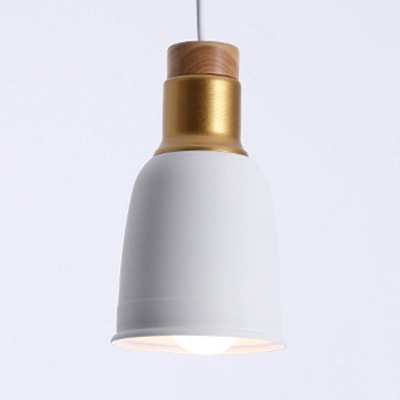 Gold Finish Bell Hanging Lamp Nordic Metal Shade 1 Head Suspended Light for Restaurant
