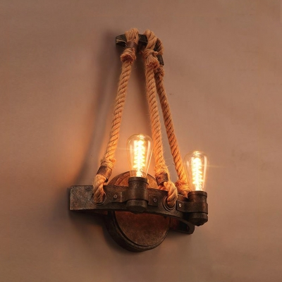 Metal Bare Bulb Sconce Light Living Room 2 Lights Antique Style LED Wall Light with Rope in Rust