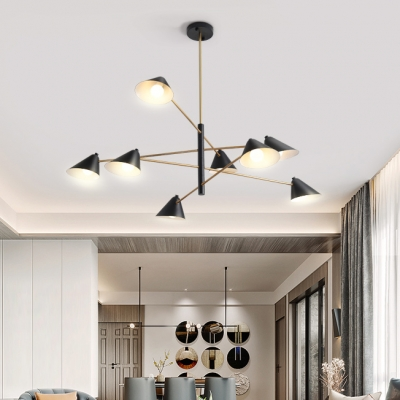 Metal Conical Shade Pendant Light 4/6/8 Lights Contemporary Chandelier in Black for Restaurant