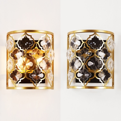 Metal Half-Cylinder Wall Light with Flower Crystal 2 Lights Elegant Style Wall Lamp in Gold for Cafe