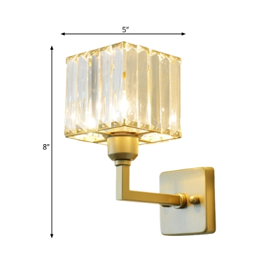 Modern Round/Square Wall Light Metal Brass Sconce Light with Crystal Shade for Cafe Living Room