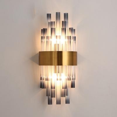 buy online 3edc7 27f25 Modern Style Tube Wall Sconce Smoke Crystal Metal Two Lights Wall Lamp