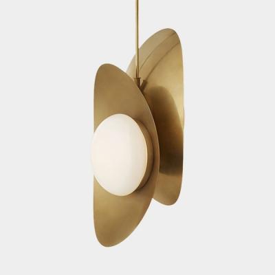 Post Modern Ellipse Hanging Light White Glass Shade 2 Lights Pendant Lamp in Black/Gold