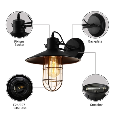 Retro Style Wire Guard Sconce Light Metal Single Light Wall Mount Light in Black for Corridor