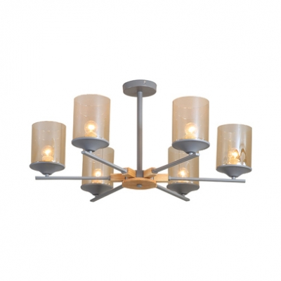 Simple Style Cylinder Pendant Light 3/6 Lights Metal Chandelier in Gray/Green/White for Living Room