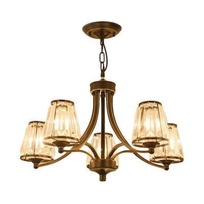 Tapered Shade Villa Chandelier Metal Clear Crystal 3/5/6/8 Lights Pendant Light in Black/Gold