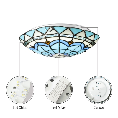 Tiffany Style Dome Flush Ceiling Light Stained Glass 1 Light Ceiling Light for Hotel