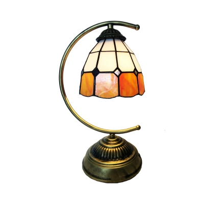 Traditional Tiffany Brass Desk Light Lattice Dome 1 Light Art Glass Table Light for Restaurant