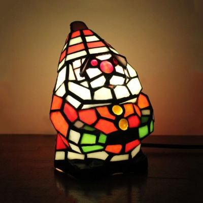 1 Light Snowman Night Light Creative Tiffany Stained Glass Table Light for Christmas Gift