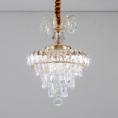 Clear Crystal Ball Chandelier Elegant Style Metal LED Hanging Light in Gold for Dining Room