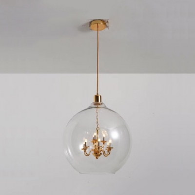 Modern Small Candle Pendant Light 9 Bulbs Clear/Smoke Glass Chandelier in Gold/Silver for Living Room