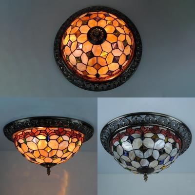 Art Glass Flower/Grid Flush Ceiling Light 12
