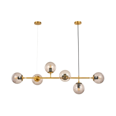 Glass Globe Shade Island Light 6 Lights Modern Stylish Island Lamp in Gold for Dining Table