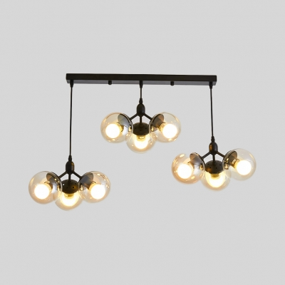 9-Light Ball Shade Linear Pendant Simple Style Clear Glass Hanging Light in Black