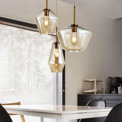 Amber/Clear Glass Shade Hanging Light Post Modern Single Head Pendant Lamp for Kitchen Dining Room