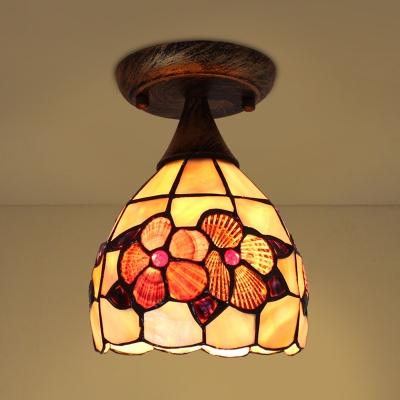 Antique Style Bowl Ceiling Light One Head Shell Flushmount Light for Foyer Dining Room