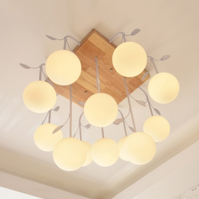 Asian Style Globe Ceiling Lamp with Leaf Wood Glass 5/12 Lights White Semi Flush Ceiling Light for Foyer