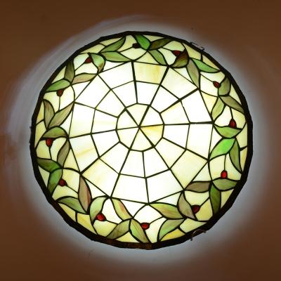Corridor Bead/Flower/Leaf Ceiling Light Stained Glass Tiffany Rustic Flush Mount Light