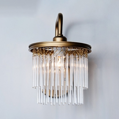 Drum Living Room Sconce Light Clear Crystal 1/2 Lights Modern Stylish Wall Lamp in Gold Finish