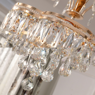 Gold Finish Floral Chandelier 56W Glamorous Striking Clear Crystal Pendant Light for Hotel Villa