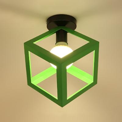 Cube Shade Hallway Kitchen Flushmount Light Metal One Light Nordic Style Ceiling Light