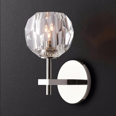 Metal Fake Candle Sconce Light Office 1 Light Contemporary Wall Lamp in Chrome with Orb Crystal