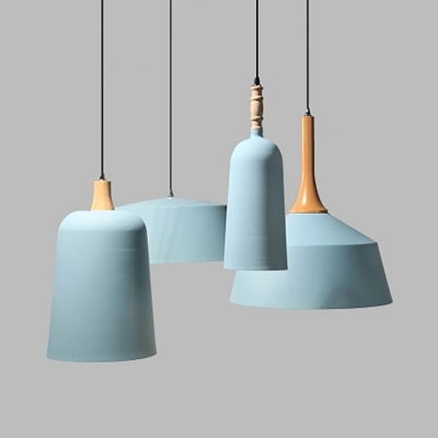 Nordic Style Blue Pendant Light With Shade 1 Bulb Aluminum