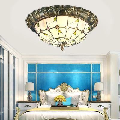 Restaurant Bowl Shade Flush Mount Light Art Glass Vintage Tiffany Ceiling Light in Beige/Blue
