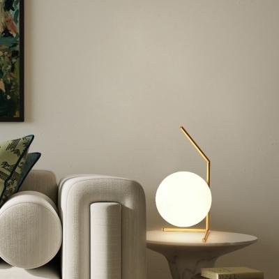 Single Light Globe Desk Lamp Post Modern White Glass Standing Table Lamp in Black/Gold